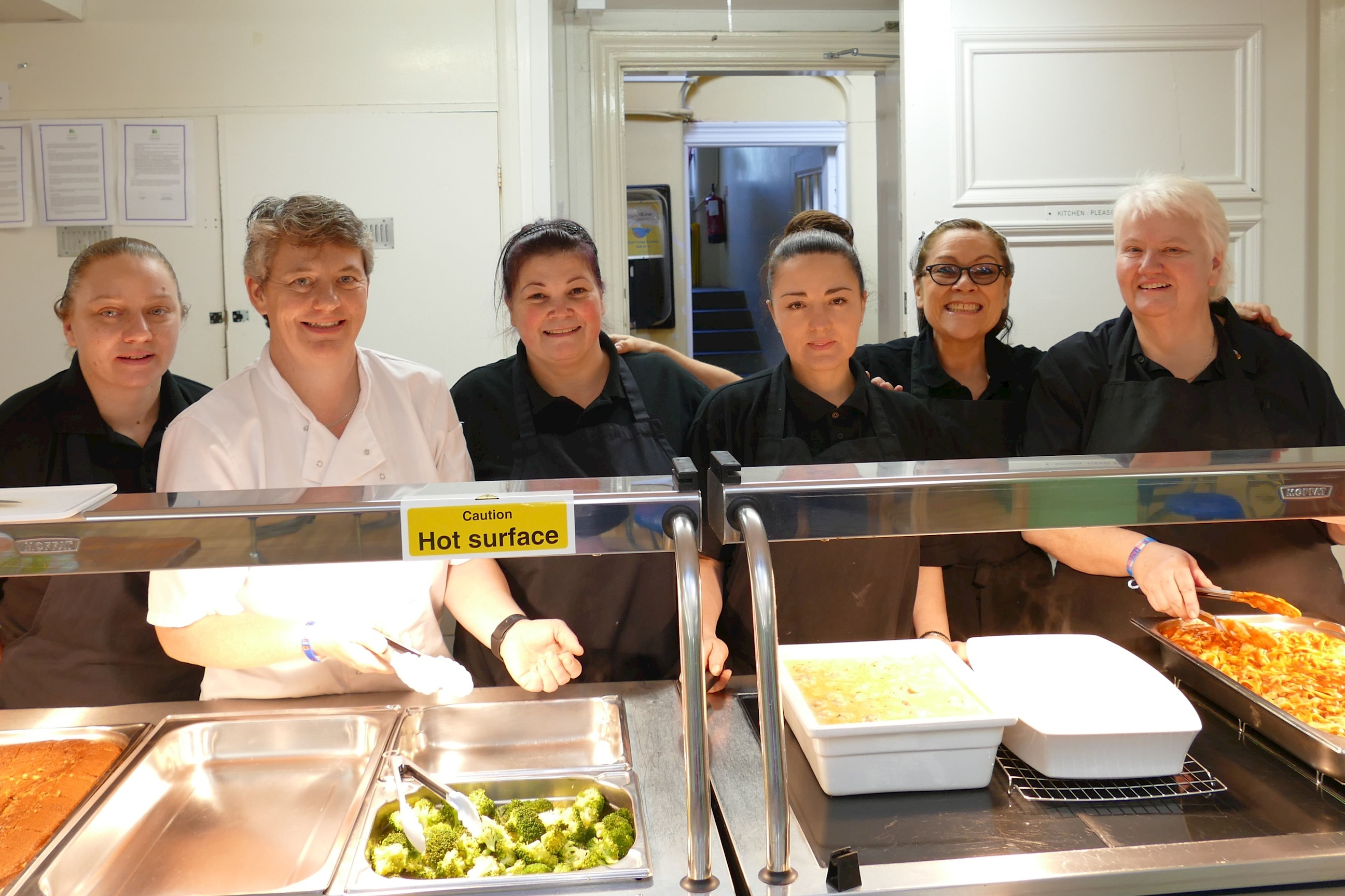 The wonderful catering team at St John's Beaumont School, serving up healthy fresh food daily.