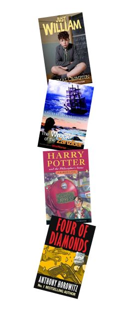 Collage of recommended reading for Year 5 Upper Elements at St John's Beaumont, including Just William, The Wreck of the Zanzibar, Harry Potter and Four of Diamonds